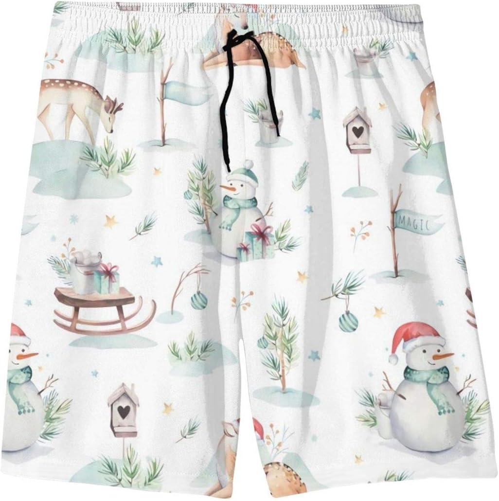 Mens Beach Shorts Quick Dry Cartoon Deer Summer Holiday Mesh Lining Swimwear Board Shorts with Pockets