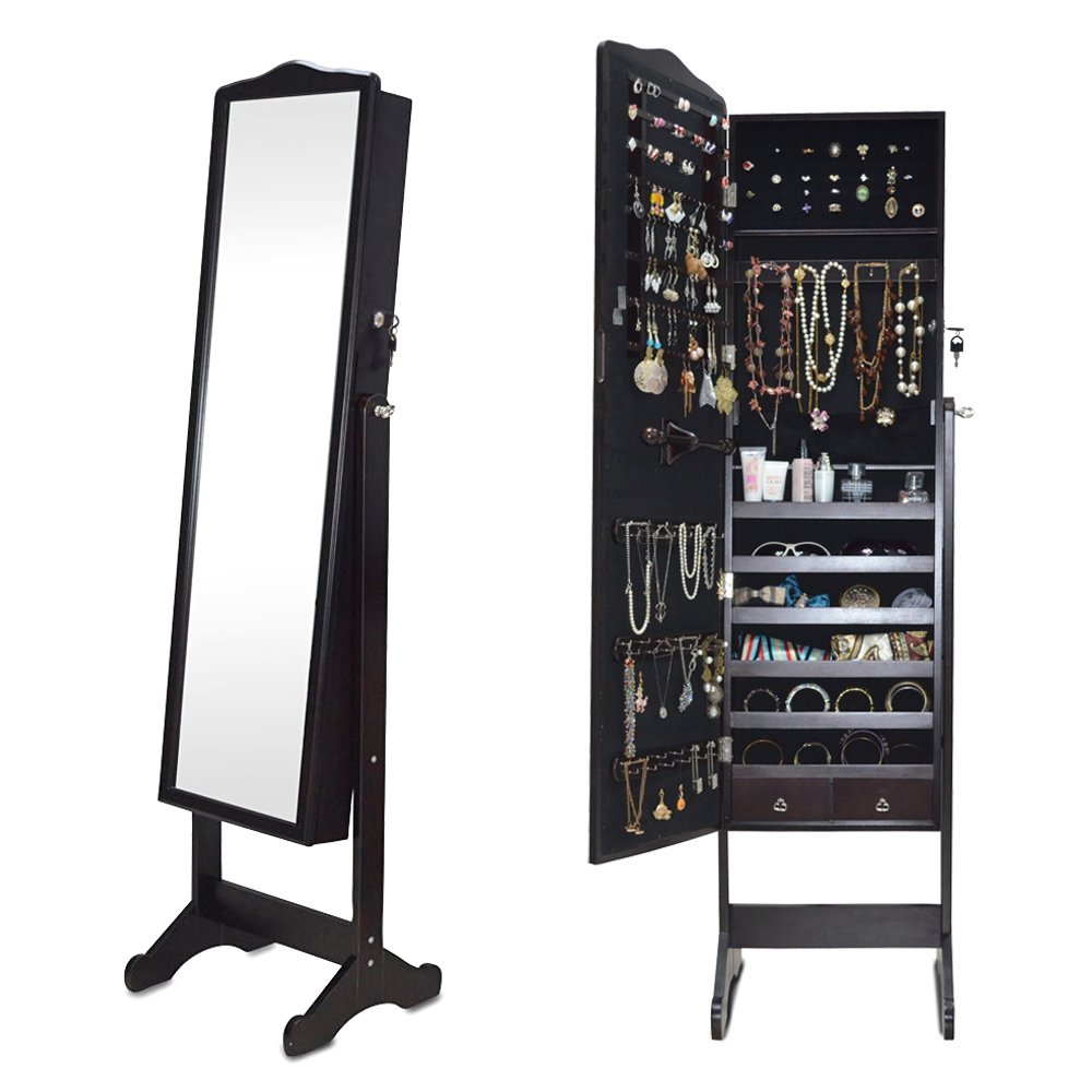 Organizedlife Brown Jewelry Cabinet Full Length Mirror Armoire Free Stand Large Cosmetic Organizer by Organizedlife (Image #4)
