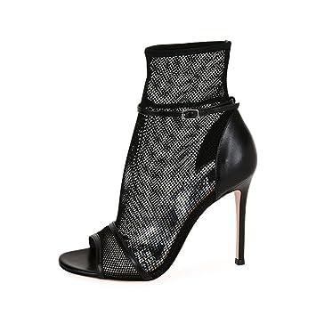 YY Sandalias De Tacón Alto Negro Descalzo para Mujer Botines De Malla Sexy Zapatos Calados Tobillera (Altura del Tacón: 11-13Cm): Amazon.es: Deportes y aire ...