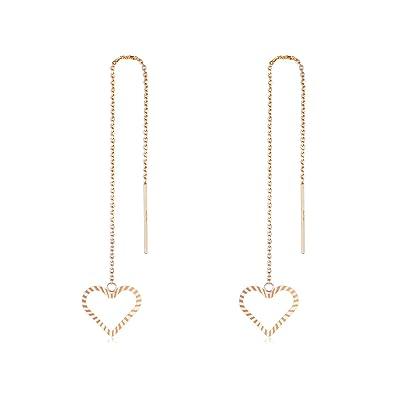 a6bf57654a8ee Amazon.com: SISGEM 18K Gold Threader Earrings Open Heart Threader ...
