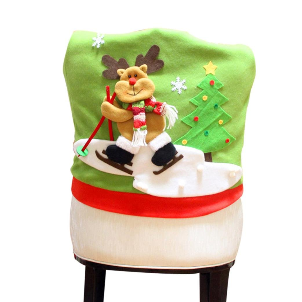 Gillberry Christmas Santa Claus Chair Back Cover Snowman Elk Ski Dinner Table Party Decor (A) Gillberry85214 WY5462