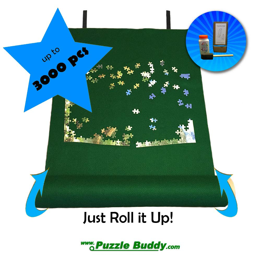 Puzzle Buddy Jigsaw Puzzle Roll Up Felt Mat | Securely Store Transport Unfinished Puzzles Includes Box Stand and Glue Kit Perfect for Grandparents Grandkids and Puzzle Enthusiasts | Made In the USA Storage Kit For Puzzles Up To 3000 Pieces 54 x 35