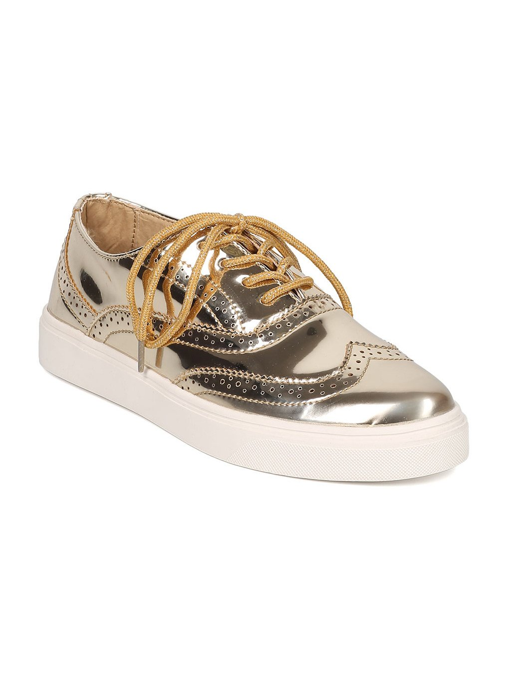 Women Metallic Leatherette Pointy Toe Oxford Sneaker GH34 - Gold (Size: 9.0)