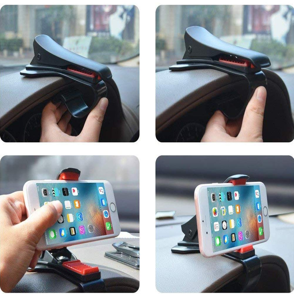 Car Phone Mount, ZOORE 360 Rotary Car Dashboard Phone Holder Front View Design HUD GPS with 5 Cable Clip for iPhone Xs, 8, 8 Plus, 7 Plus, Samsung Galaxy S9, S8 Plus, S7, Note 9 Edge, Google and More