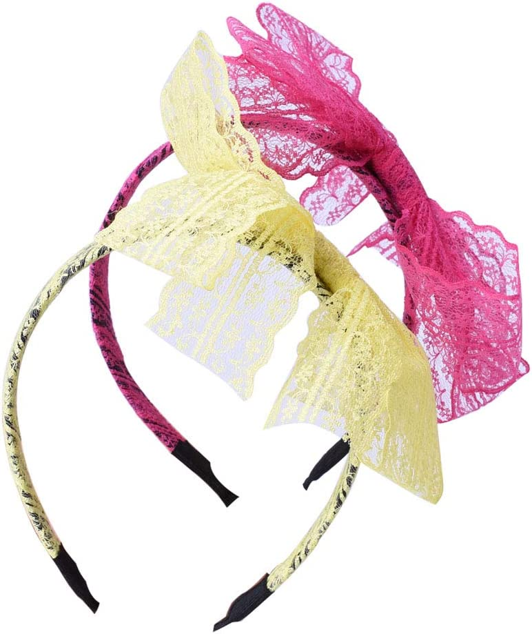 LEKUSHA Women 80s Costume Accessories Neon Lace Headband Hair Band with Neon Earrings
