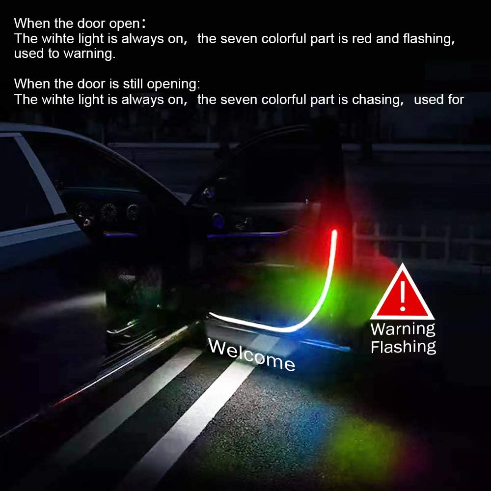 Car Door LED Warning Strip Lights,SUNACCL 47.2 Inch Flexible Car Interior Lights Waterproof Dual Color Sequential Switchback Safety Strip Lights for Anti Rear End Collision-Chasing Colorful+White 2PCS
