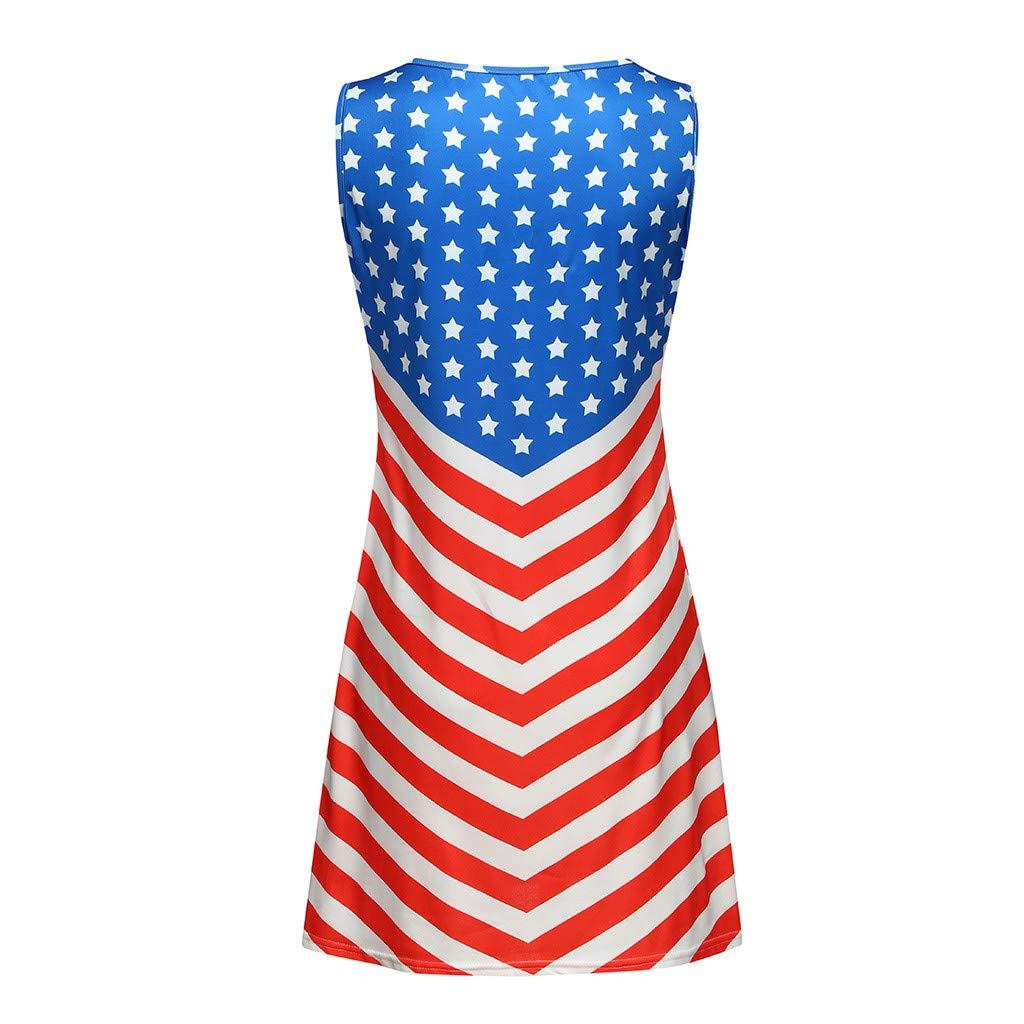 zitan Womens American Flag Beachwear Racer Back Tank Top Loose Sleeveless Tunic