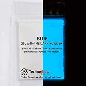 Glow in The Dark Powder, Natural Blue - Multiple Colors PRO-Series - 1 Ounce (28g)