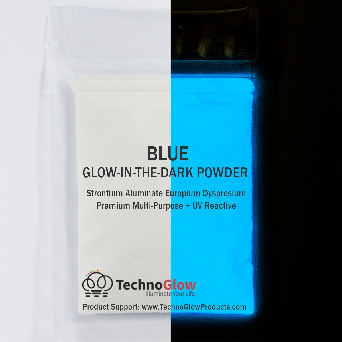 Glow in The Dark Powder - Multipurpose PRO-Series Glow Colors (Blue, 8 Ounces (227g)) by Techno Glow Inc
