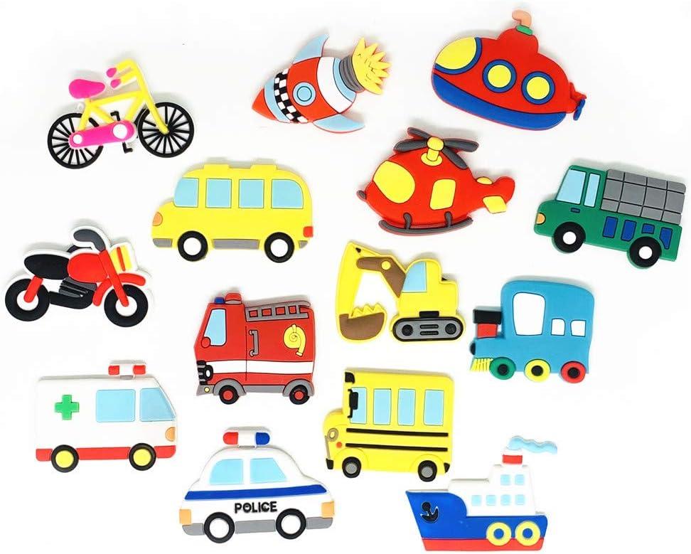 Koolemon 14pcs/Set Car Fridge Magnets Whiteboard Sticker Rubber Refrigerator Magnets for Toddlers Freezer Office Cabinets
