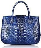 Pijushi 22201 Classic Ladies Crocodile Embossed Leather Satchel Bag Women's Top-handle Handbags (Blue)