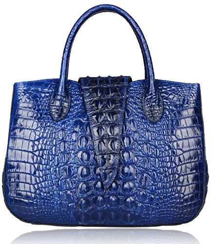 Pijushi 22201 Classic Ladies Crocodile Embossed Leather Satchel Bag Women's Top-handle Handbags (Blue) by PIJUSHI