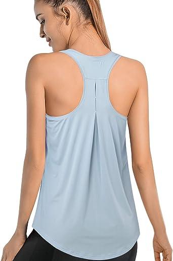 Promover - Camiseta sin mangas para mujer, ligera, plisada, holgada, para gimnasio, yoga, sin mangas, espalda cruzada: Amazon.es: Ropa y accesorios