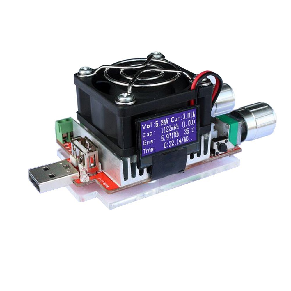uniquegoods 35W RD Industrial Grade Electronic Load resistor USB Interface Discharge battery test capacity with fan adjustable current