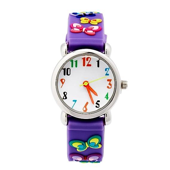 El Reloj de Niños de Vinmori, Reloj de Cuarzo con Dibujos Animados Bonitos de 3D a Prueba de Agua Regalo para Chicos Niños y Niñas Mariposa-Púrpura: ...