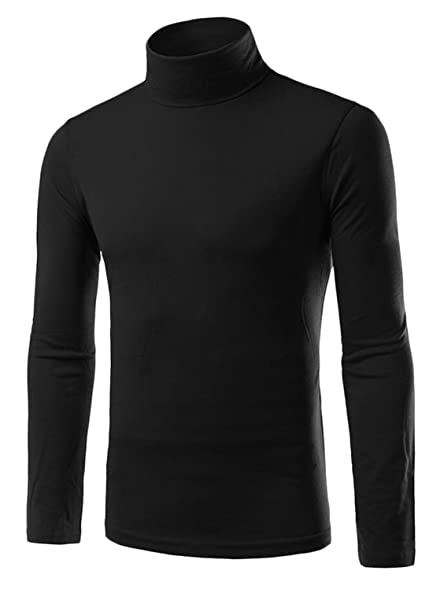 Alion Mens Basic Long Sleeve Cotton Knit Turtleneck Sweater at ...