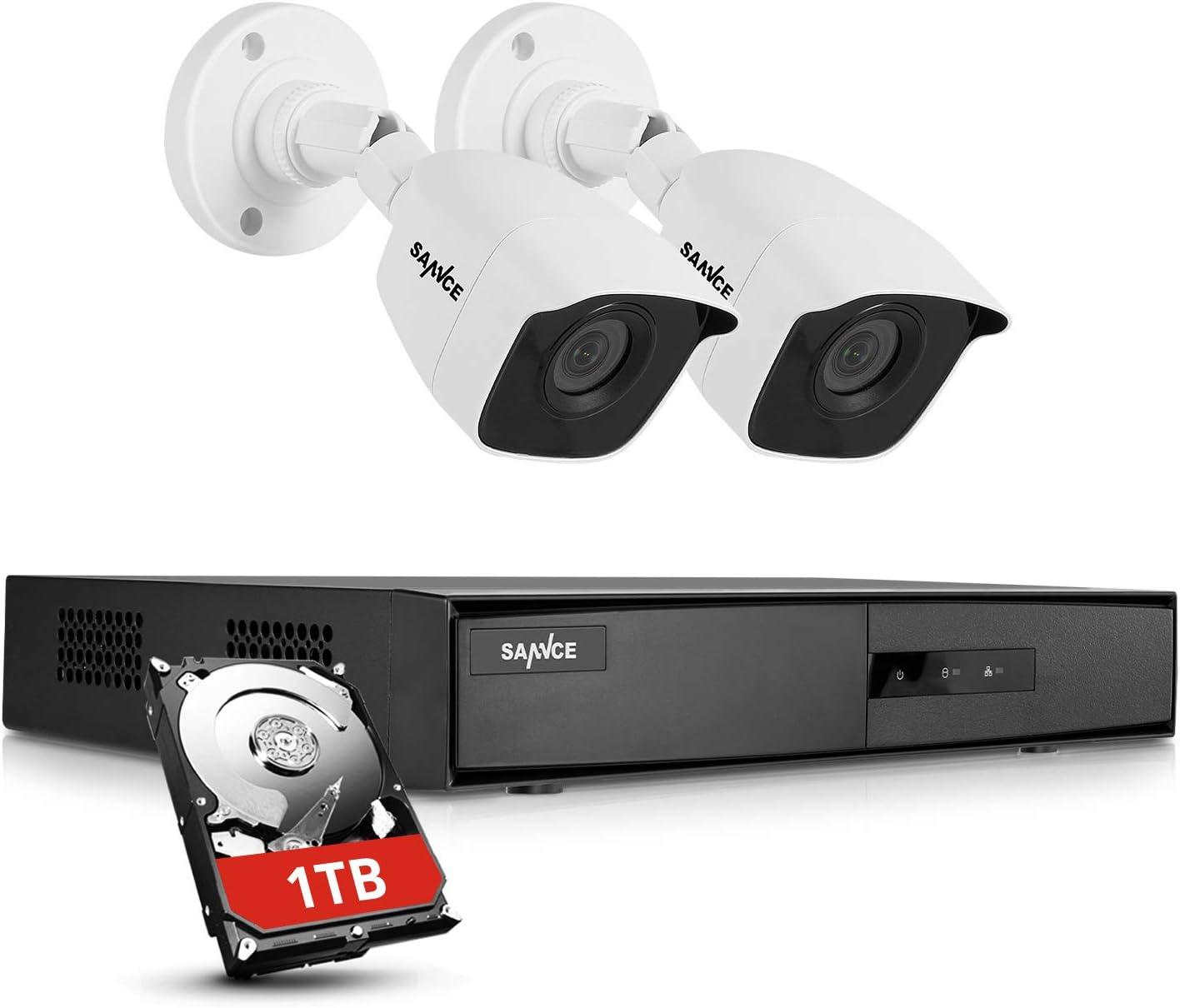 SANNCE Kit de Seguridad Sistema de 4CH 1080N DVR 5-en-1 y 2 Cámaras de Vgilancia 1080P HD Visión Nocturna Leds IP66 Interior/Exterior Acceso Remoto-1T Disco Duro