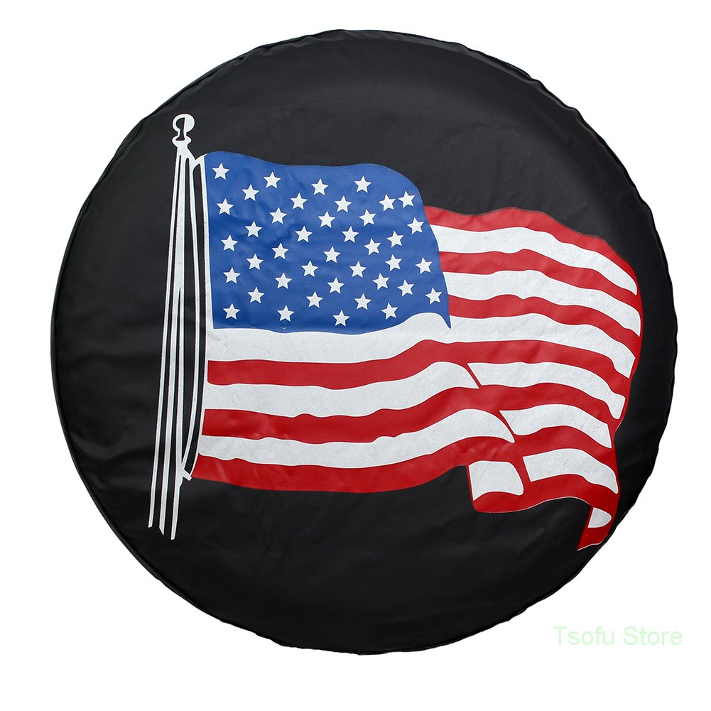 Spare Tire Cover PVC Leather WaterProof Dust-proof Universal Spare Wheel Tire Cover Fit for Jeep,Trailer, RV, SUV and Many Vehicle 14'' 15'' 16'' 17'' DIY (17'') (16'' for diameter 29''-31'')