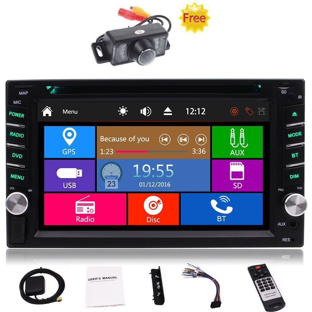 "Free Car Rear View Camera + Double Din 6.2"" Touch Screen in Dash Stereo Car Receiver DVD CD 1080P Video Player Bluetooth GPS Navigation FM/AM RDS Radio TF/USB/ AUX-in/Subwoofer/SWC +Remote Control"