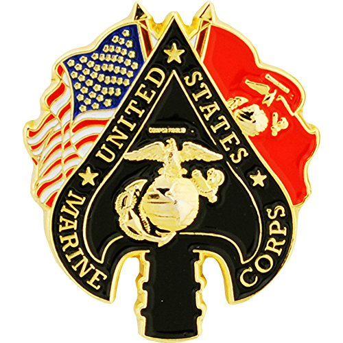 Metal Lapel Pin - US Marine Pin - Marine Corp & Emblem - USMC Spade & Flags 1