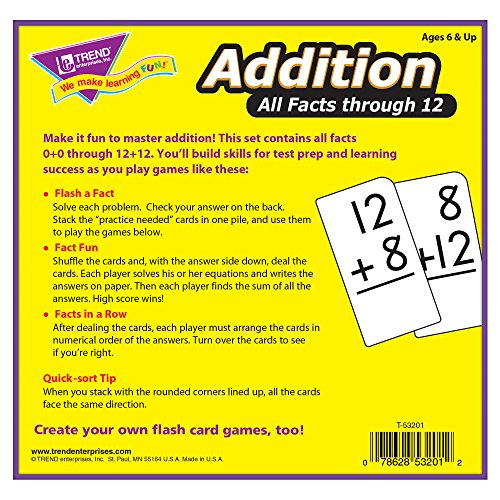 Amazon.com: Addition 0-12 (all facts) Flash Cards: Toys & Games