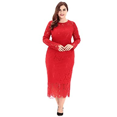 Ek Womens Plus Size Bandage Evening Cocktail Party Long Sleeve Lace