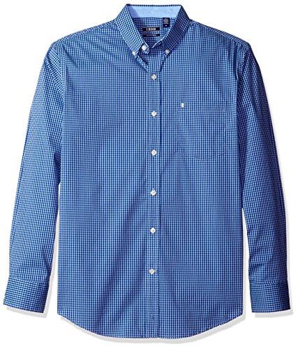IZOD Men's Advantage Performance Non Iron Stretch Long Sleeve Gingham Shirt, Powder Blue, Small (Powder Blue Shirt)