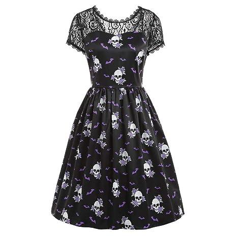 813616a08de Saihui Women Dress Femme Halloween rétro Dentelle à Manches Courtes Robe  Vintage Tête de Mort Chauve-