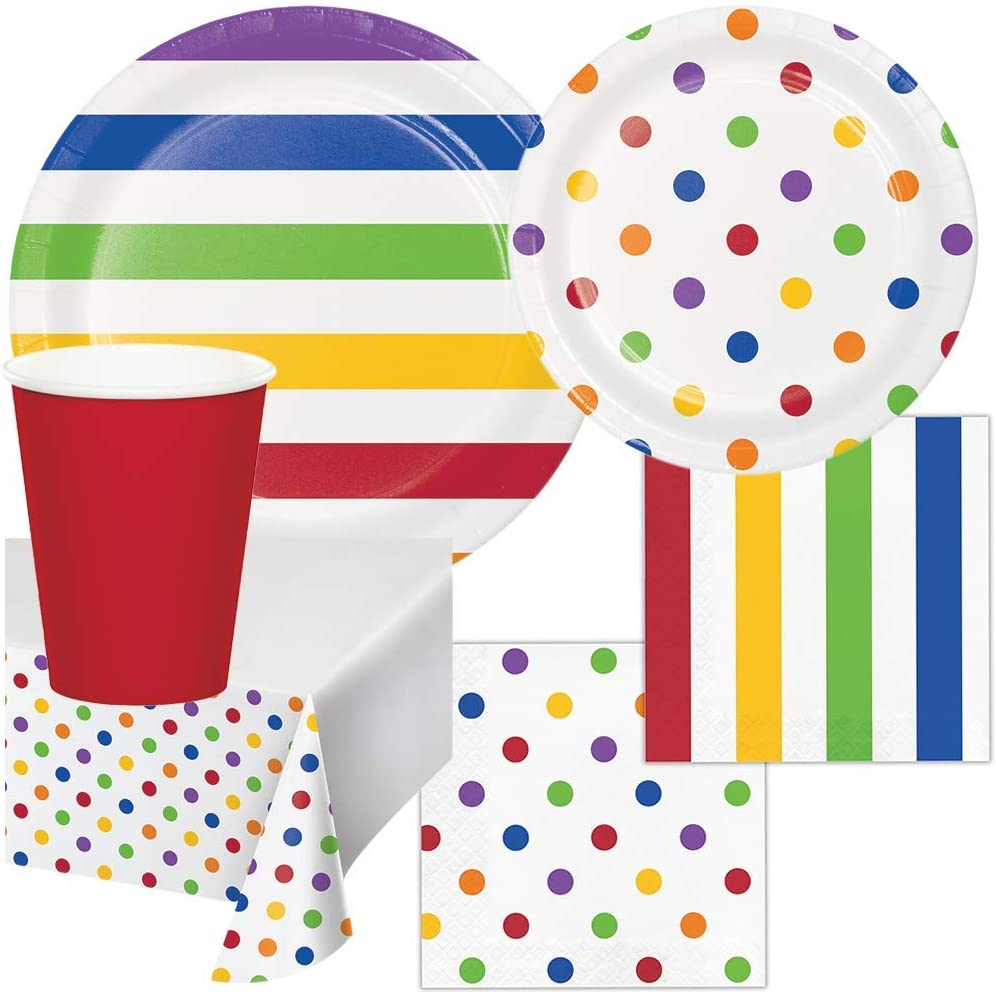 Gay Pride Rainbow Birthday Party Supplies Pack Set LGBTQ Dots and Stripes Set 16 Guests Children Adults Paper Plates, Napkins, Paper Cups, Table Cover Disposable Tableware for Food Cake Home School