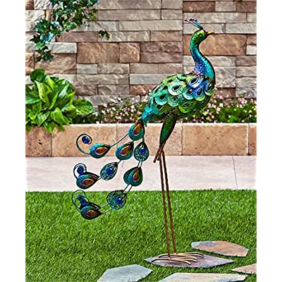 Colorful Vibrant Iron Metallic Bird Decor Garden Outdoor Decoration (Peacock) : Garden & Outdoor