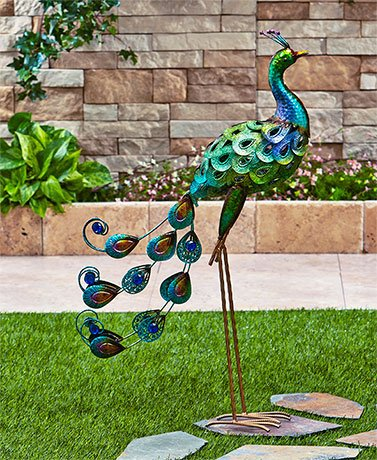 Colorful Vibrant Iron Metallic Bird Decor Garden Outdoor Decoration (peacock)