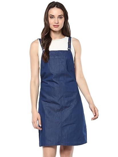 c6ca98cbe58 StyleStone Women's Cotton Denim Dungaree Dress: Amazon.in: Clothing ...