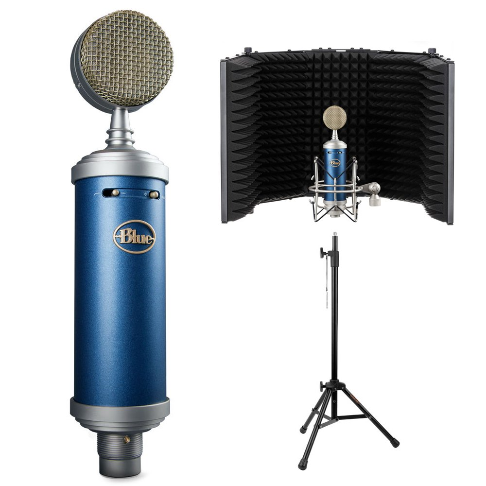 Blue Bluebird SL Large-Diaphragm Condenser Studio Microphone with Auray RF-5P-B Reflection Filter and RFMS-580 Reflection Filter Tripod Mic Stand