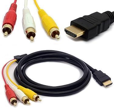 Video Audio AV Convertidor de cable de HDMI a 3-RCA para TV