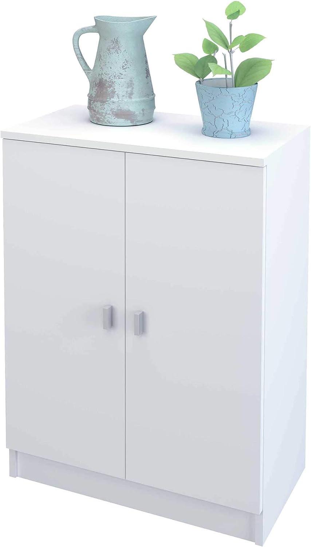 Samblo S9915 Senchi - Armario Bajo de Cocina con 2 Puertas, Blanco, 34 x 60 x 80 cm