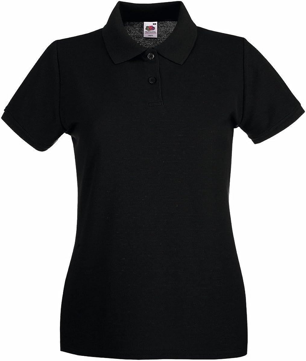 Womens FOTL Lady-Fit Premium Polo T Shirt-Black-Medium