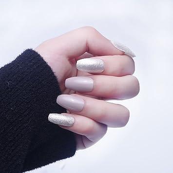 24pcs 12 diverso tamaño del ataúd elegante plata brillo sólido nude largo cubierta completa uñas falsas con diseño: Amazon.es: Belleza