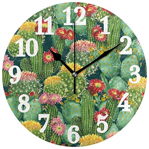 WIHVE Tropical Blooming Cactus Flowers Round Wall Clocks Decorative Wooden Clock No Ticking Home Decor Blooming Flower Wall Clock