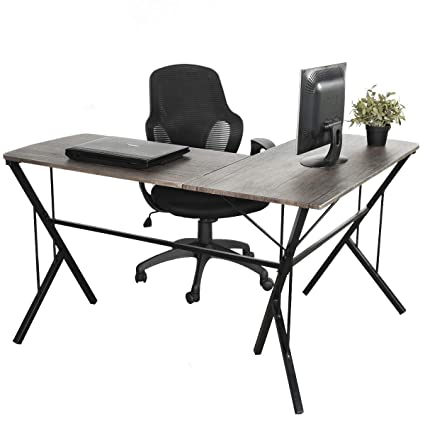 Nice GreenForest L Shaped Desk Office Computer Corner Desk With Modern Leg  Design PC Laptop Simple Workstation