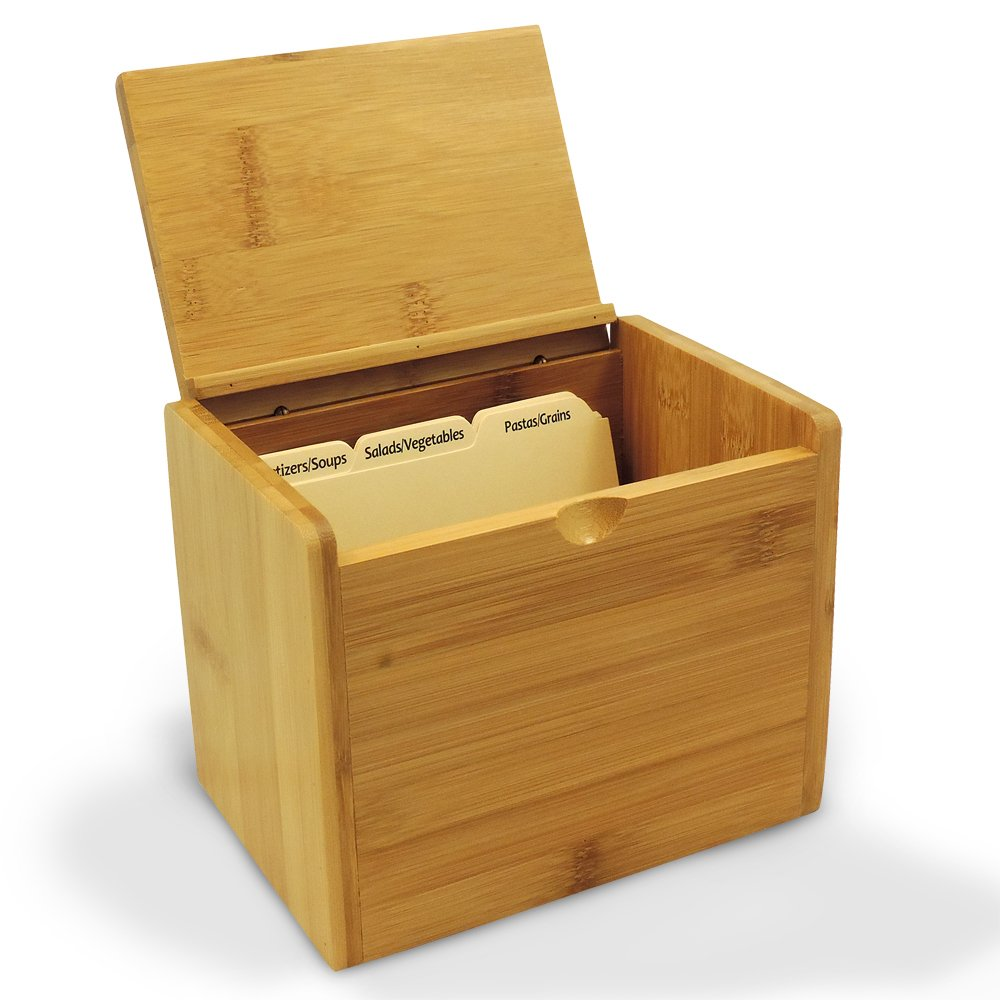 Cookbook People Recipe Box Bamboo (Unengraved) 4x6 Cards and 3x5 - Up to 300 Cards - Includes Dividers