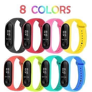 BRone Pulsera para Xiaomi Mi Band 3, Coloridos Impermeable Reemplazo Correas Reloj Silicona Correa para Xiaomi Mi Band 3 Pulsera Silicona Banda para ...