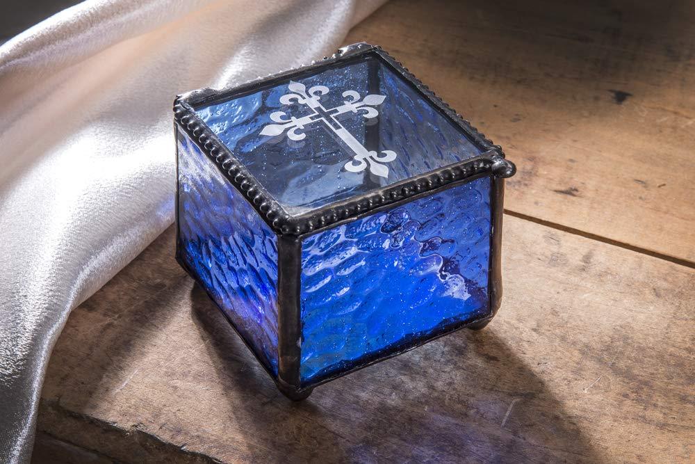 J Devlin Box 709-3 Etched Cross Keepsake Box Christening, Baptism, First Communion Confirmation Gift Rosary Blue Glass Jewelry Box