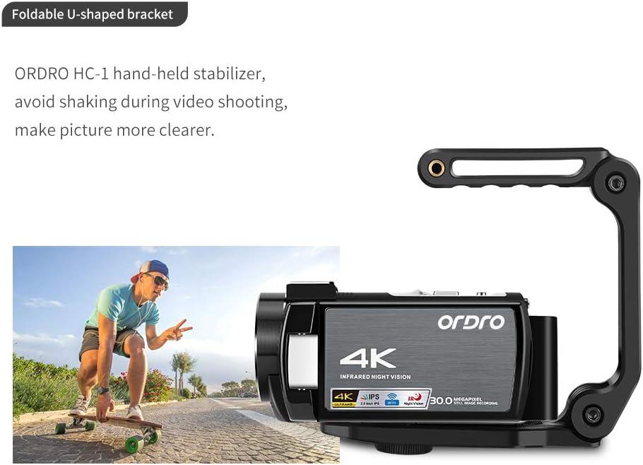 Cam/éra Vid/éo de Vision Nocturne ORDRO 4K Cam/éscope 1080P 60FPS Cam/éra Num/érique WiFi avec Microphone Lumi/ère de Vision Nocturne IR et 2 Piles
