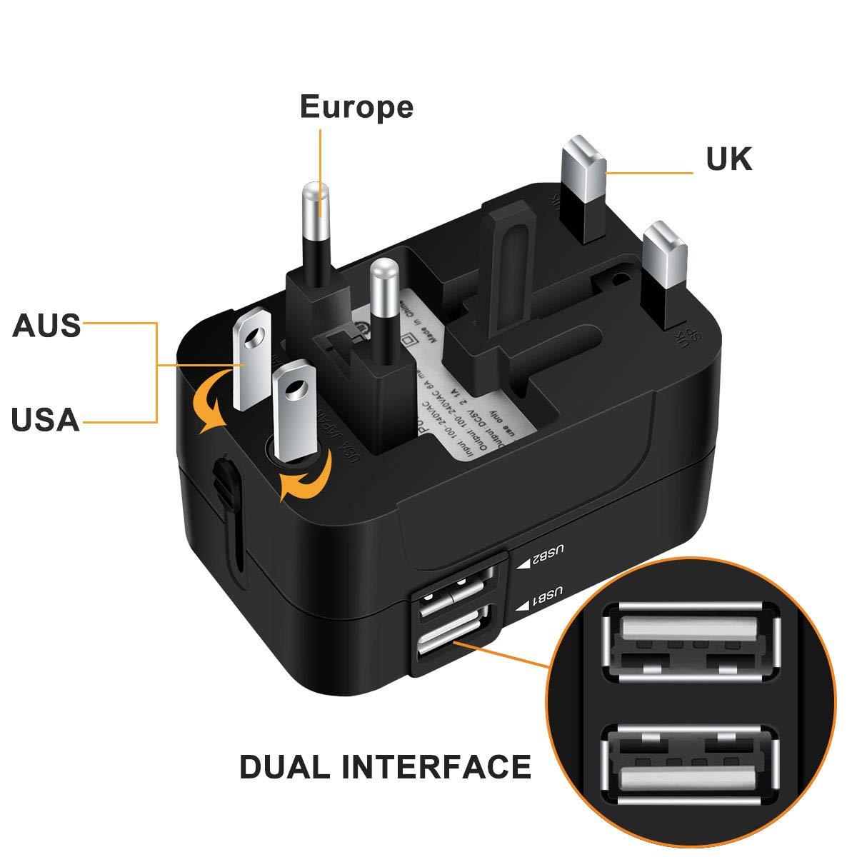 Universal Reiseadapter Weltweit Stromadapter Stecker f/ür USA Europa UK Thailand Australien China Universeller Weltreise Reisestecker Travel Adapter Steckdose mit USB ladestecker SCHWARZ