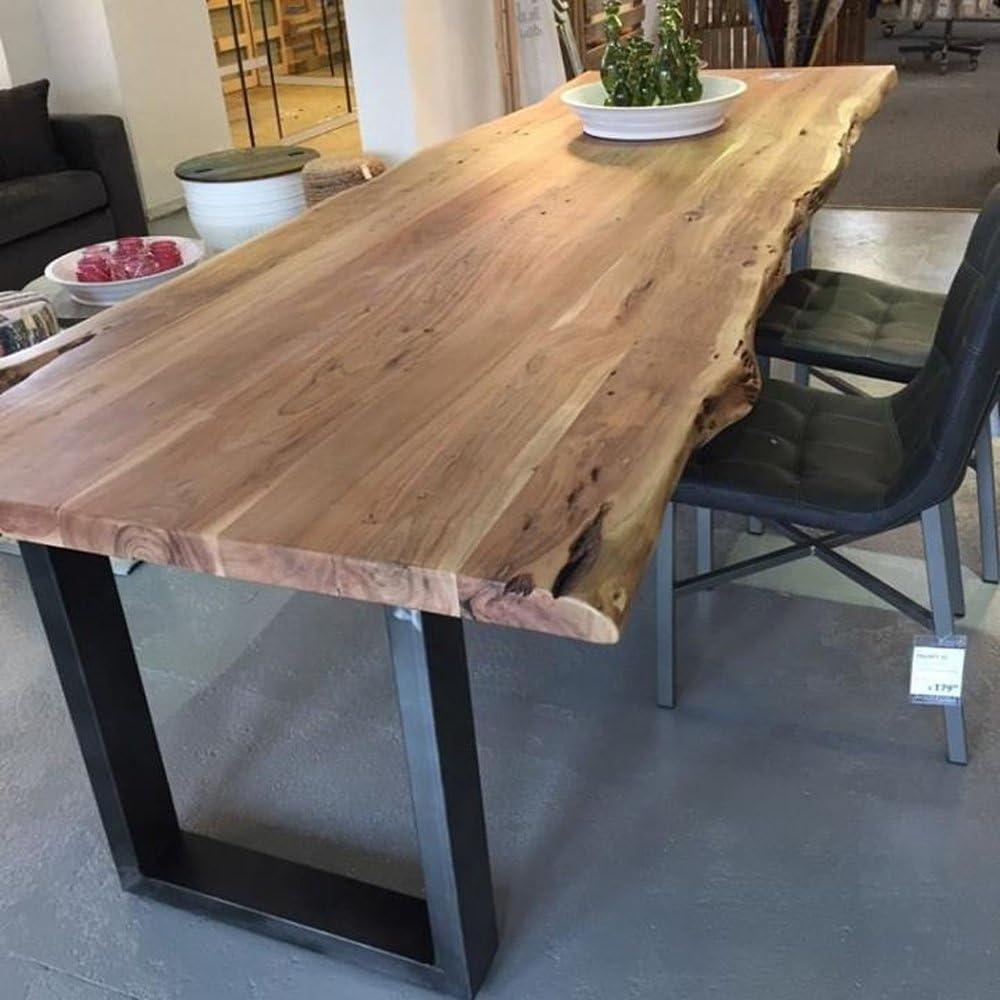 Dining Table Tree Edge 300 X 100 Cm Dining Room Table Solid Wood Acacia Metal Amazon De Kuche Haushalt