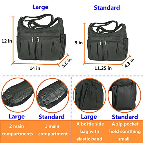 Handbags Shoulder Purse Bag black for Nylon Women large Multi Pocket Corss Travel Waterproof 8981 Rock Volcanic body q0tFPw
