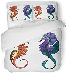 rouihot Duvet Cover Set Twin Size Blue Horse Seahorses Purple Sea Animal Coral Creature Fish 3 Piece Microfiber Fabric Decor Bedding Sets for Bedroom