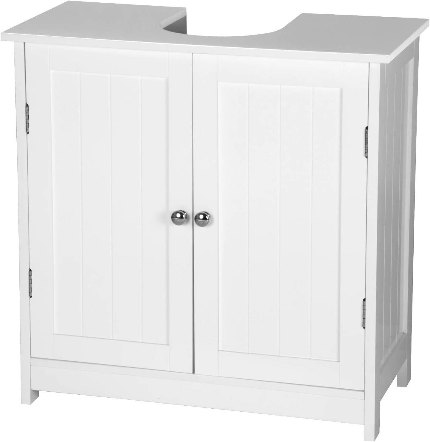 eSituro Mueble Bajo Lavabo Armario de Suelo para Baño Mueble de Baño Organizador 2 Puertas, MDF Blanco 60 x 30 x 60 cm SBP0014