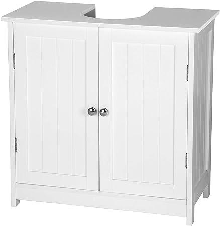 eSituro Mueble Bajo Lavabo Armario de Suelo para Baño Mueble de Baño Organizador 2 Puertas, MDF Blanco 60 x 30 x 60 cm SBP0014: Amazon.es: Hogar