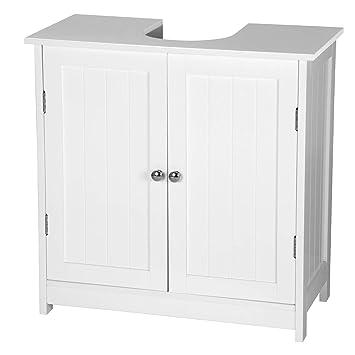 Woltu Mueble Para Debajo Del Lavabo Madera 2 Puertas Para Cuarto De Bano 60x60x30cm Blanco Bzs02ws
